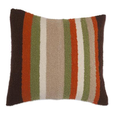Alpaca Blend Multicolor Stripe Throw Cushion Cover from Peru