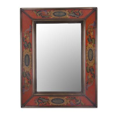 Reverse painted glass wall mirror, 'Floral Medallions in Scarlet' - Floral Reverse Painted Glass Mirror in Scarlet from Peru