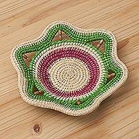 Chambira tree fiber decorative basket, 'Flower of Iquitos' - Tri-Color Chambira Tree Fiber Decorative Basket from Peru
