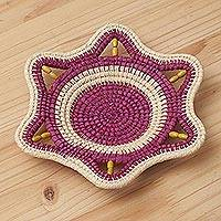 Chambira tree fiber decorative basket, 'Iquitos Beauty' - Chambira Fiber Decorative Basket in Magenta and Beige