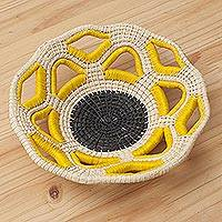 Chambira tree fiber decorative basket, 'Atalaya Sun' - Handcrafted Chambira Fiber Decorative Basket from Peru