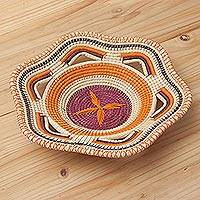 Chambira tree fiber decorative basket, 'Natural Fantasy' - Eco-Friendly Chambira Fiber Decorative Basket from Peru