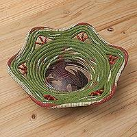 Chambira tree fiber and gourd shell decorative basket, 'Jungle Toucan' - Bird-Themed Natural Fiber Decorative Basket from Peru