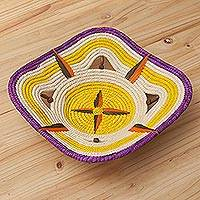Chambira tree fiber decorative basket, 'Amazon Brilliance' - Eco-Friendly Chambira Tree Fiber Decorative Basket from Peru
