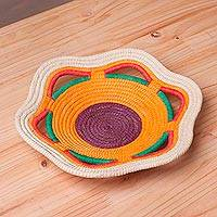 Chambira tree fiber decorative basket, 'Vibrant Iquitos' - Handcrafted Chambira Tree Fiber Decorative Basket from Peru