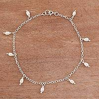 Cultured pearl charm anklet, 'Fresh Walk' - Dangling Cultured Pearl and Sterling Silver Anklet from Peru
