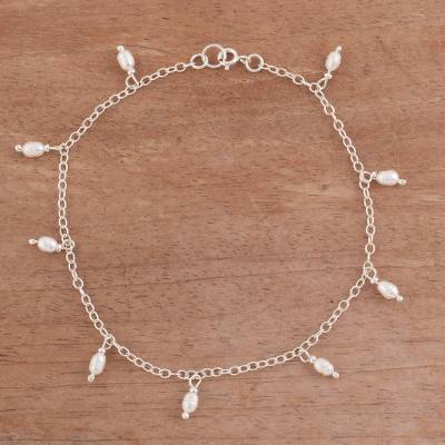 Cultured pearl anklet, 'Fresh Walk' - Dangling Cultured Pearl and Sterling Silver Anklet from Peru