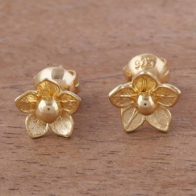 Gold plated sterling silver stud earrings, Glistening Petals