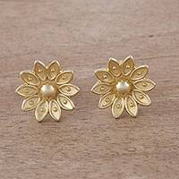Gold plated sterling silver stud earrings, 'Gleaming Lotus'