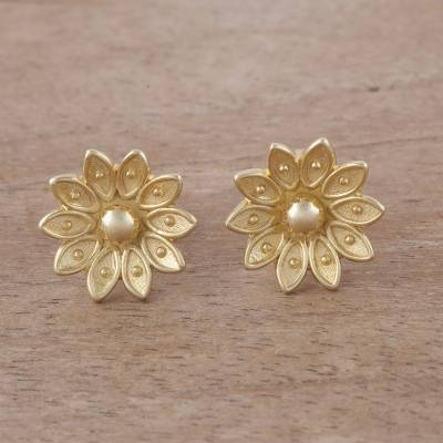 Floral Gold Plated Sterling Silver Stud Earrings From Peru