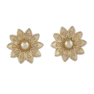 Gold plated sterling silver stud earrings, 'Gleaming Lotus' - Floral Gold Plated Sterling Silver Stud Earrings from Peru