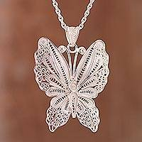 Sterling silver filigree pendant necklace, 'Paradise Flight' - Sterling Silver Filigree Butterfly Necklace from Peru