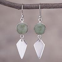 Aventurine dangle earrings, 'Peaceful Day' - Aventurine and Sterling Silver Dangle Earrings from Peru