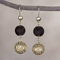 Gold plated obsidian dangle earrings, 'Celebratory Globes' - 18k Gold Plated Obsidian Dangle Earrings from Peru