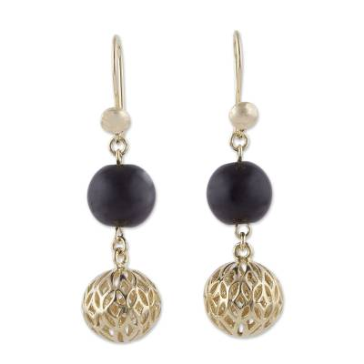 18k Gold Plated Obsidian Dangle Earrings from Peru