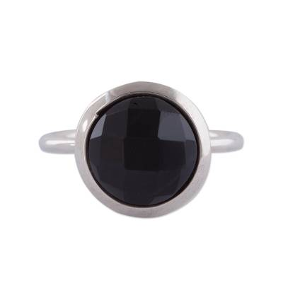 Obsidian and Sterling Silver Single Stone Ring from Peru