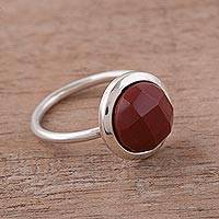 Jasper single stone ring, 'Magic Pulse' - Jasper and Sterling Silver Single Stone Ring from Peru