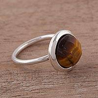 Tiger's eye single stone ring, 'Magic Pulse' - Tiger's Eye and Sterling Silver Single Stone Ring from Peru