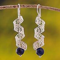 Lapis lazuli filigree dangle earrings, 'Spiral Dance' - Spiral Lapis Lazuli Filigree Dangle Earrings from Peru