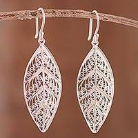 Sterling silver filigree dangle earrings, 'Spiritual Leaves' - Sterling Silver Filigree Leaf Dangle Earrings from Peru