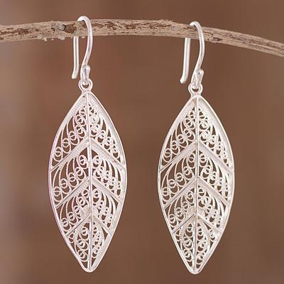 89a056ff6 Sterling silver filigree dangle earrings, 'Spiritual Leaves' - Sterling  Silver Filigree Leaf Dangle