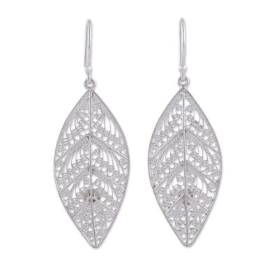 Sterling silver filigree dangle earrings, 'Spiritual Leaves' - Sterling Silver Filigree Leaf Dangle Earrings from Peru