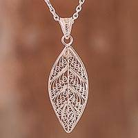 Sterling silver filigree pendant necklace, 'Spiritual Leaf'