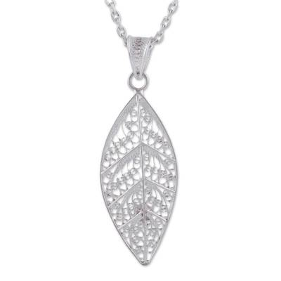 Sterling silver filigree pendant necklace, 'Spiritual Leaf' - Leaf Sterling Silver Filigree Pendant Necklace from Peru