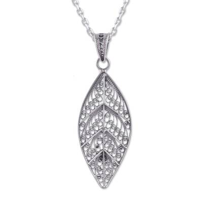 Sterling silver filigree pendant necklace, 'Mystery of the Forest' - Handcrafted Sterling Silver Filigree Leaf Necklace from Peru