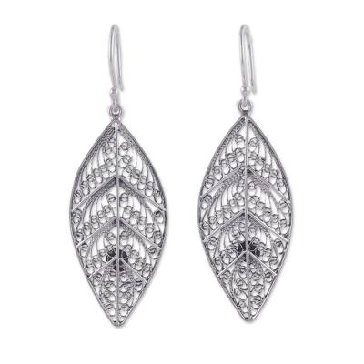 Handcrafted Sterling Silver Filigree Leaf Earrings from Peru