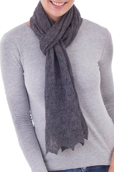100% baby alpaca scarf, 'Style and Harmony in Slate' - Knit 100% Baby Alpaca Wrap Scarf in Slate from Peru