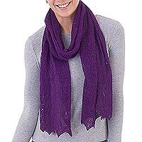 100% baby alpaca scarf, 'Style and Harmony in Grape' - Knit 100% Baby Alpaca Wrap Scarf in Grape from Peru