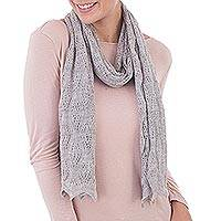 100% baby alpaca scarf, 'Style and Harmony in Dove Grey' - Knit 100% Baby Alpaca Wrap Scarf in Dove Grey from Peru