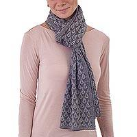 100% baby alpaca scarf, 'Afternoon Dew' - Knit 100% Baby Alpaca Wrap Scarf in Grey from Peru