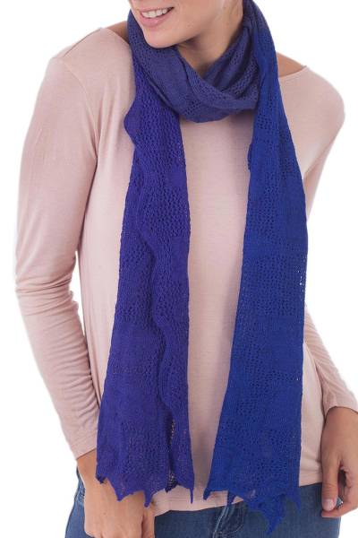100% baby alpaca scarf, 'Colonial Palace' - Patterned 100% Baby Alpaca Wrap Scarf in Blue from Peru