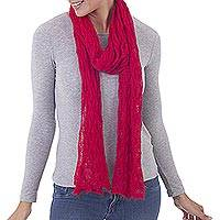 100% baby alpaca scarf, 'Deep Rose Duchess' - Knit 100% Alpaca Wrap Scarf in Deep Rose from Peru