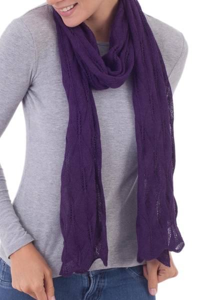 100% baby alpaca scarf, Luxurious Andes in Aubergine