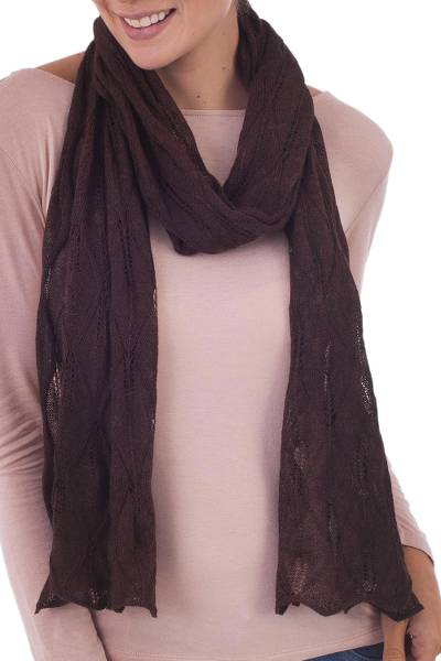 100% baby alpaca scarf, 'Luxurious Andes in Espresso' - Knit 100% Baby Alpaca Wrap Scarf in Espresso from Peru