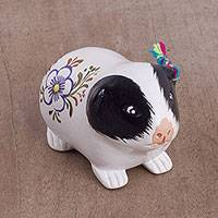 Ceramic figurine, 'Magic Guinea Pig' - Ceramic Guinea Pig Figurine in White and Black from Peru