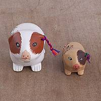 Ceramic figurines, 'Guinea Pig Family' (pair) - Two Handmade Ceramic Guinea Pig Figurines from Peru
