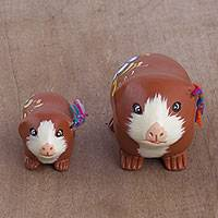 Ceramic sculptures, 'Guinea Pig Family in Spice' (pair) - Two Ceramic Guinea Pig Sculptures in Spice from Peru
