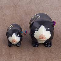 Ceramic sculptures, 'Guinea Pig Family in Black' (pair) - Two Ceramic Guinea Pig Sculptures in Black from Peru