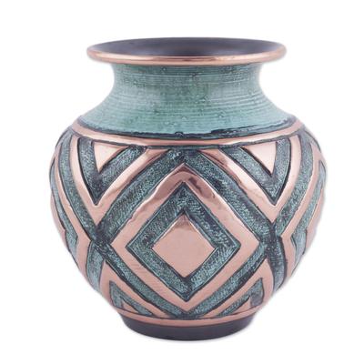 Copper and bronze decorative vase, 'Andean Splendor' - Copper and Bronze Diamond Motif Decorative Vase from Peru