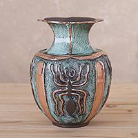 Copper and bronze decorative vase, 'Cosmic Spiders' - Copper and Bronze Spider Motif Decorative Vase from Peru