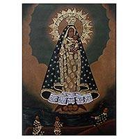 'Virgin of El Cobre' - Surrealist Painting of the Virgin Mary and Jesus from Peru