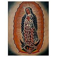 'Virgin of Guadalupe' - Religious Surrealist Painting of the Virgin Mary from Peru