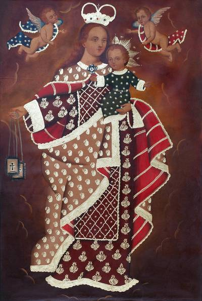 'Our Lady of Mount Carmel' - Colonial Style Painting of Mary and Jesus from Peru
