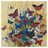 'Butterfly Jungle' (2017) - Colorful Modern Painting of Butterflies from Peru