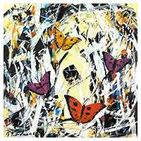 'Summer Butterflies' (2017) - Signed Painting of Fluttering Butterflies from Peru