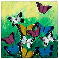'Butterflies in the Sun' (2017) - Signed Freestyle Painting of Butterflies from Peru